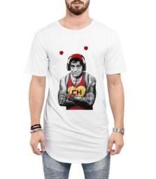 Camiseta Long Line Oversized Masculina Chapolim Tatuado