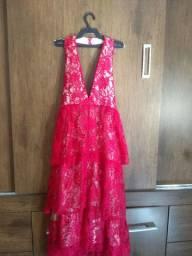 Vestido Midi frente única Tam P cor Pink em renda de alta qualidade