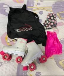 Patins Roller Derby nº 33/34, com 2 capas e bolsa para o patins - Praticamente 0km