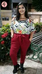 Calça clochard (Laço) e blusa Plus size