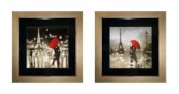"""Conjunto de quadros decorativos """"Paris"""" com moldura, vidro e vinil preto"""
