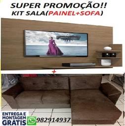 Super Promoção de KIt Sala(Sofa Chaise+Painel)Novo Com Excelente Preço 749,00