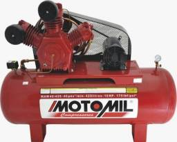 Compressor de ar industrial-40 pés-425 lt-motor 10cv-trifásico 175 psi motomil