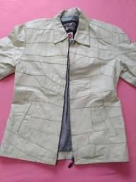 Jaqueta de couro legítimo marfim tamanho G
