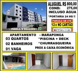 Alugo Apartamento na Maraponga Com 03 Quartos e Lazer Próx ao Detran- Ce