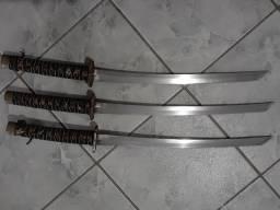 Jogo de Espadas Katanas de Samurai Decorativas (Kit c 3 + Suporte)