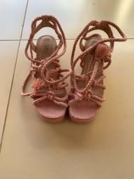 Sandália de amarrar rosa Calzato