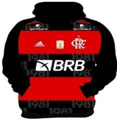 Casaco de Moletom do Flamengo Plus Size Mais Kit Sacola, 5 Mascaras e Uma Bandana