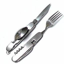Canivete talheres para Pesca/ Camping/ Portátil Ação Selva/ Militar Aço Inox - Manaus AM