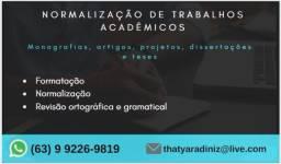 Formatação e correção trabalhos acadêmicos