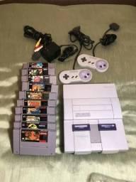 Super Nintendo com 10 jogos todos originais