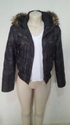 Jaqueta nylon femenino forrada poliester com capuz tamanho M