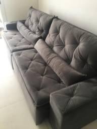 Sofá reclinável na cor cinza com 2,80m