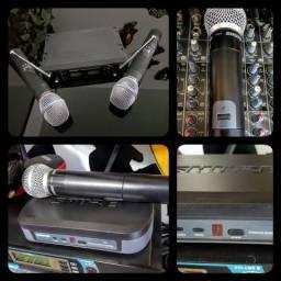 Microfone s/fio Shure e dois microfones s/fio Karsect - avalio troca