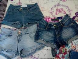 Lote de calças e shorts jeans