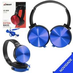 Headphone estéreo extra bass com microfone azul com fio xtrad lc-834 lc-834 xtrad