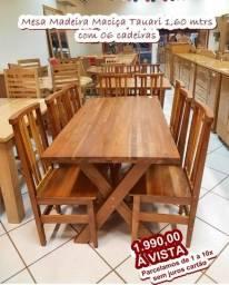 Mesas Madeira Maciça Com 06 cadeiras e com bancos  A pronta entrega /whats 9.9912.2169