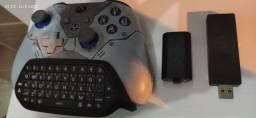Controle Xbox one S + bateria + teclado + receiver Pc
