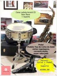 Título do anúncio: Kit Completo Caixa + Pedal + Suporte - Seminovos R$ 990,00