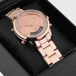 Relógio Digital Analógico Rose Feminino Original Luxo