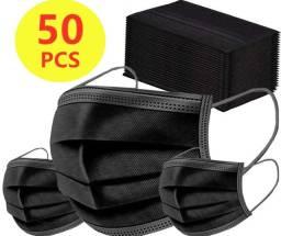 Mascaras descartáveis preta caixa com 50 unidades
