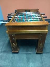 Mesa de pebolim profissional mogno madeira maciça com pé emborrachado e regulável