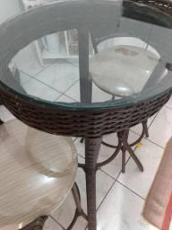 Mesa vidro + 2 banquetas