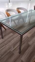 Mesa inox com tampo vidro 1,90 x 0,90