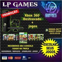 Xbox 360 destravado 500gb 100 jogos e garantia