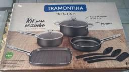 JogoS de Panelas Trentino com 7 Peças Cinza - Tramontina - NovaS
