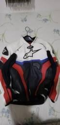 Jaqueta de couro, Capacete e luva para Moto