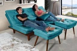 Sofa-Cama Caribe + 2 Banquetas Rubi Essencial Estofados 8 Cores Disponíveis
