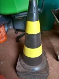 Kit 10 Cones de Sinalização 6 de 50 cm e 4 de 75 cm Rígido Refletivo