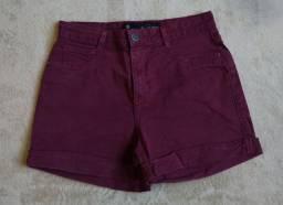 Short cintura alta bordô