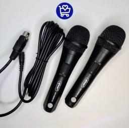 Microfone com fio duplo profissional
