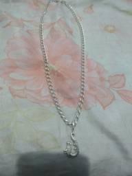 Cordão de prata com pingente prata 925