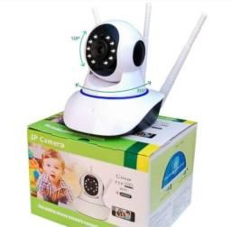 Câmera eletrônica 360 Ip wi-fi Sem Fio Visão Noturna Lcd Digital ?