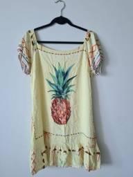 Vestido abacaxi em viscose - tam GG