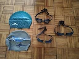 Óculos de natação + touca- conjunto