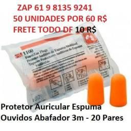 Protetor Auricular Espuma Ouvidos Abafador 3m - 20 Pares ZAP 61 9 8135 9241