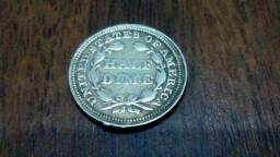 Moeda de prata Half Dime 1858