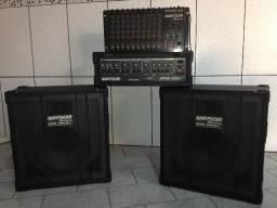 Caixa de som Wattsom + cabeçote + mesa de som