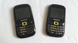 02 Celular Samsung Com Teclado Semi Novo Funcionando Ótimo