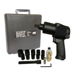 Chave de impacto com kit soquetes, pneumática profissional 69 KG