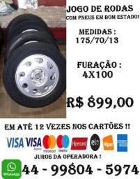 Jogo de Rodas Aro 13 Furação 4x100 com pneus meia vida !!