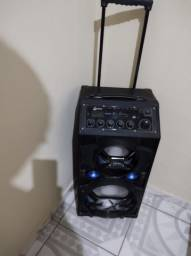 Caixa de Som Amplificadora Bluetooth Lenoxx CA318 Preta 300W Multiuso com Karaokê Preto.