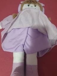 Boneca de pano na cor lilas com 60 cm