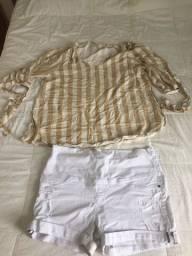 Shorts e Blusa Gestante !!! R$ 40 !!! Tamanho M