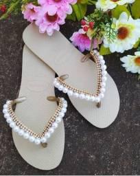 Sandália de pérolas