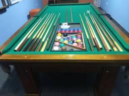Mesa de sinuca e snooker profissional grande madeira mogno maciça semi nova